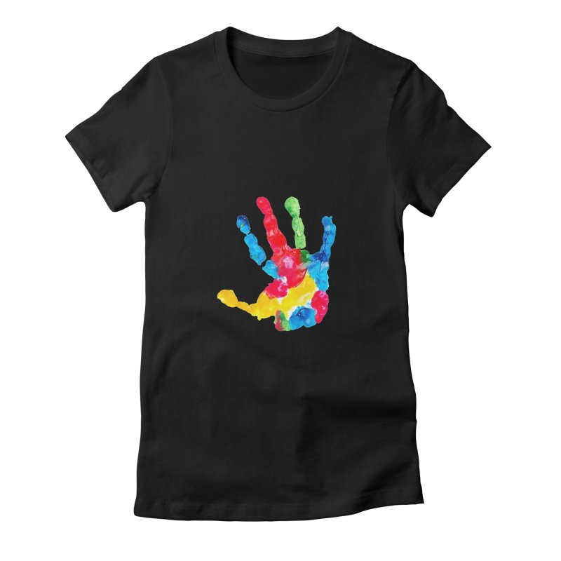 Hand Paint Women's Fitted T-Shirt by Coachella Valley Autism Society of America