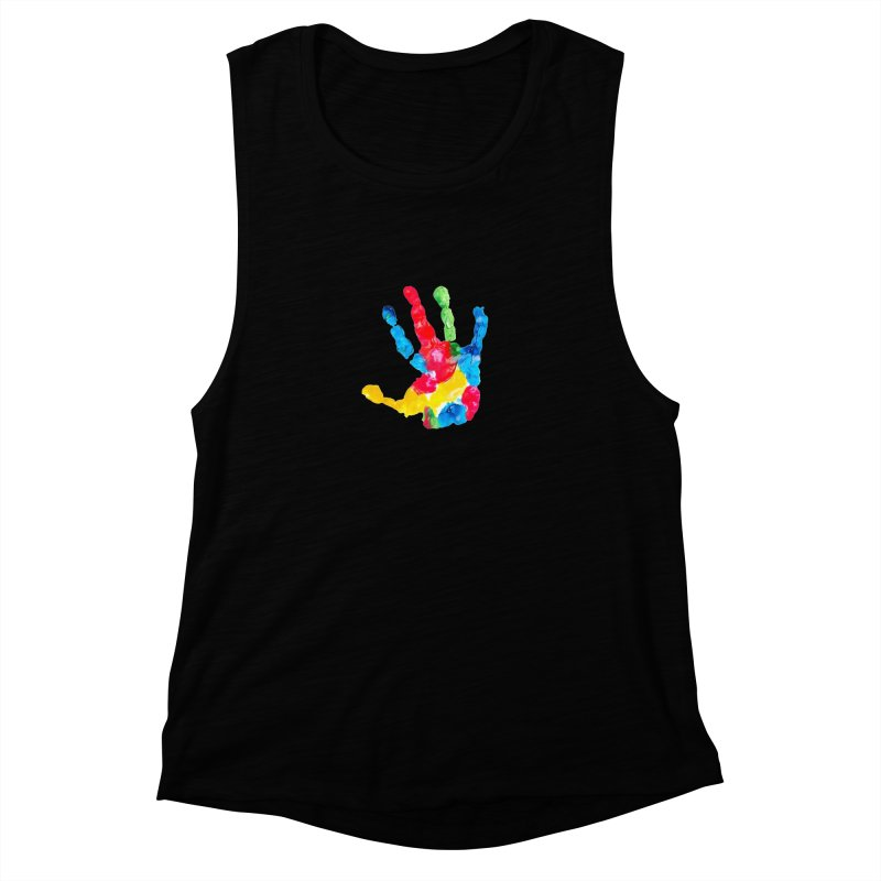 Hand Paint Women's Muscle Tank by Coachella Valley Autism Society of America