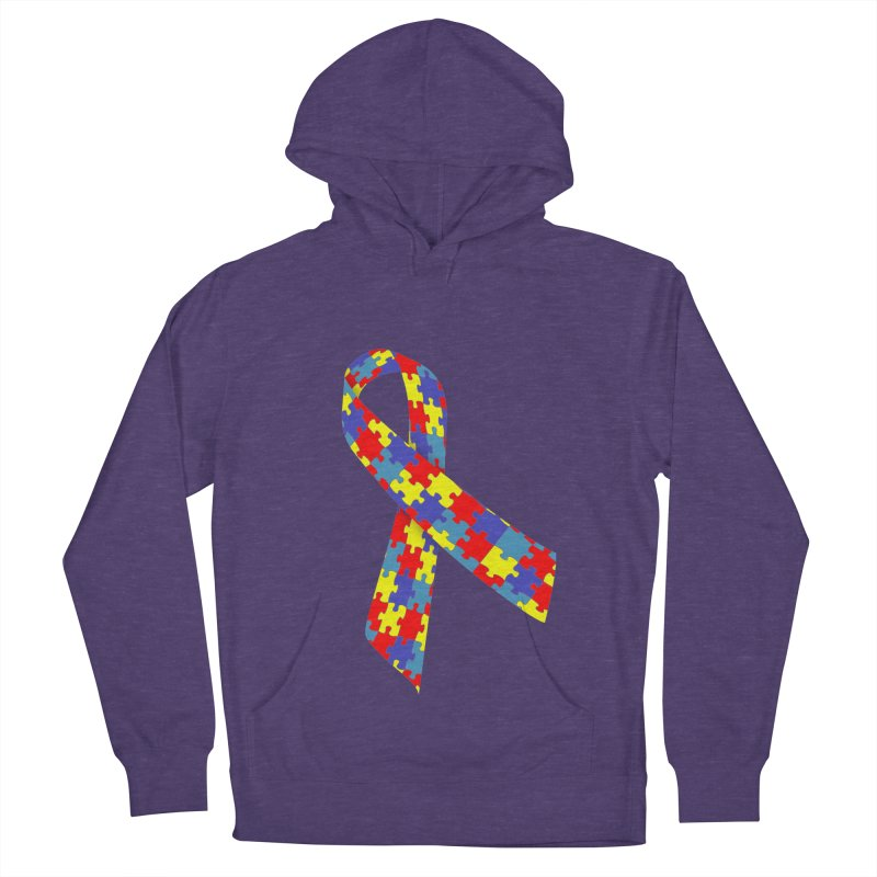 Ribbon Men's French Terry Pullover Hoody by Coachella Valley Autism Society of America