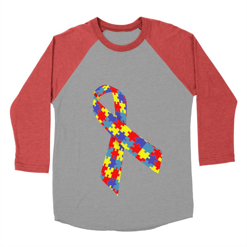 Ribbon Women's Baseball Triblend Longsleeve T-Shirt by Coachella Valley Autism Society of America