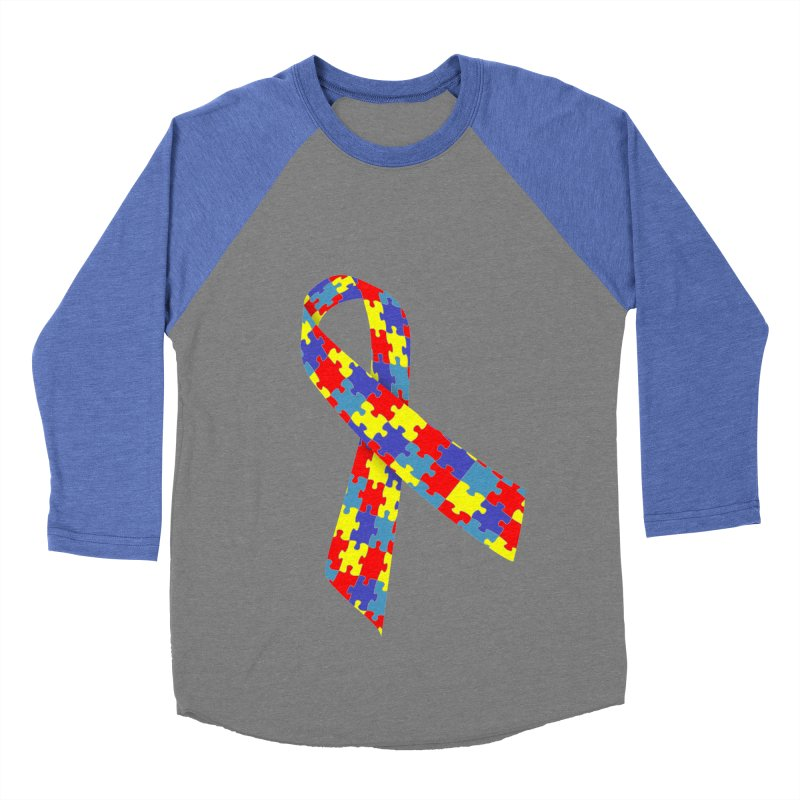 Ribbon Men's Baseball Triblend Longsleeve T-Shirt by Coachella Valley Autism Society of America