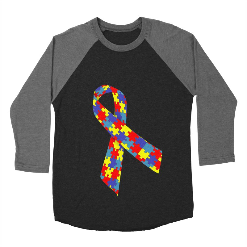 Ribbon Men's Baseball Triblend Longsleeve T-Shirt by Coachella Valley Autism Society of America