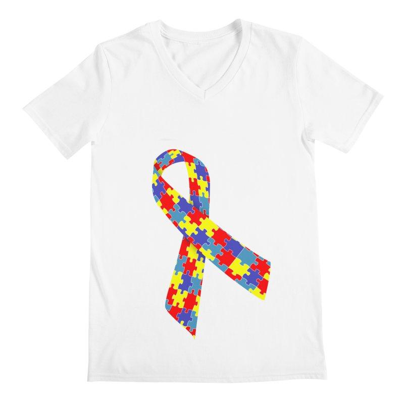 Ribbon Men's V-Neck by Coachella Valley Autism Society of America