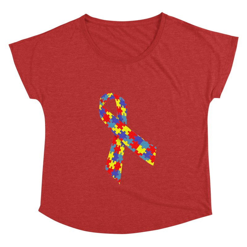 Ribbon Women's Dolman Scoop Neck by Coachella Valley Autism Society of America