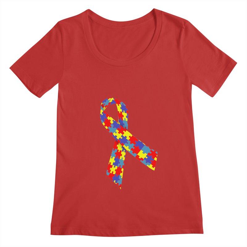 Ribbon Women's Regular Scoop Neck by Coachella Valley Autism Society of America
