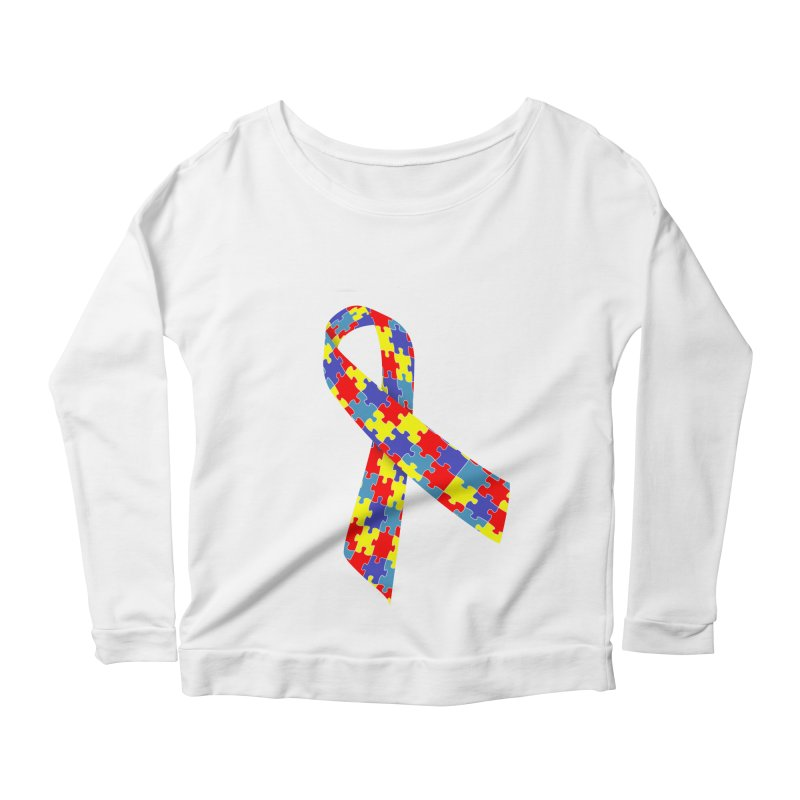 Ribbon Women's Scoop Neck Longsleeve T-Shirt by Coachella Valley Autism Society of America