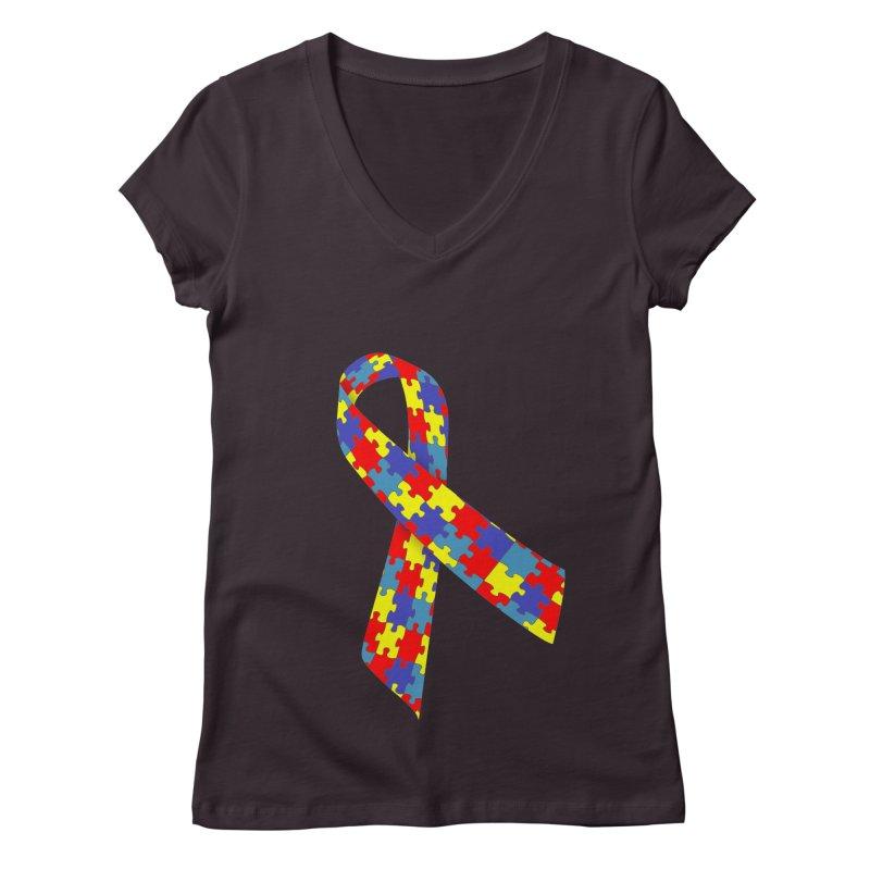 Ribbon Women's Regular V-Neck by Coachella Valley Autism Society of America