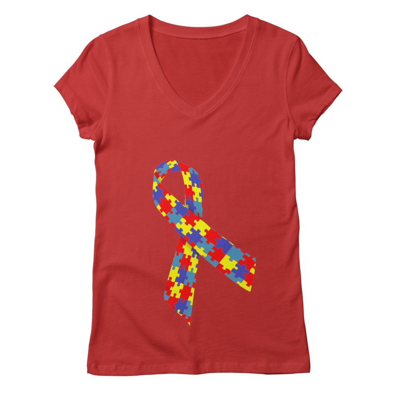 Ribbon Women's Regular V-Neck by Coachella Valley Autism Society of America