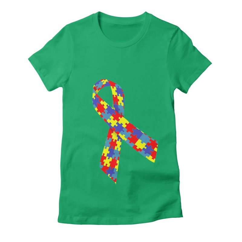 Ribbon Women's Fitted T-Shirt by Coachella Valley Autism Society of America