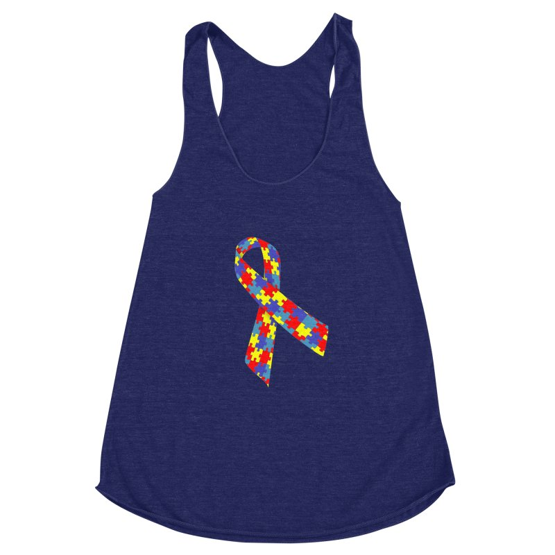 Ribbon Women's Racerback Triblend Tank by Coachella Valley Autism Society of America