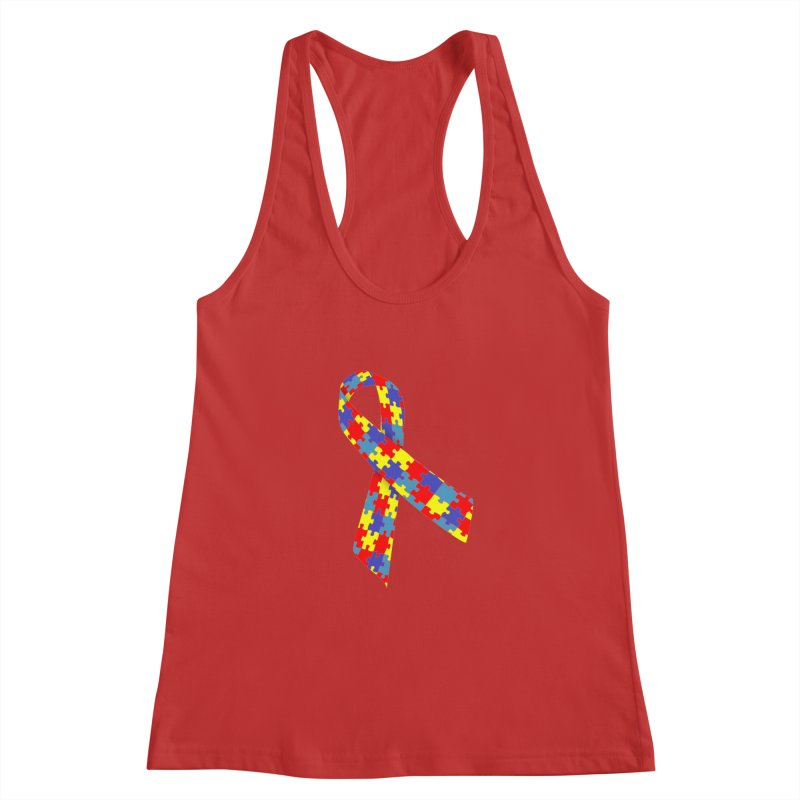 Ribbon Women's Racerback Tank by Coachella Valley Autism Society of America