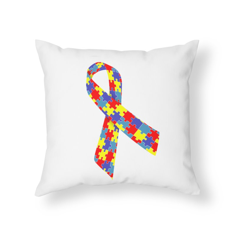 Ribbon Home Throw Pillow by Coachella Valley Autism Society of America