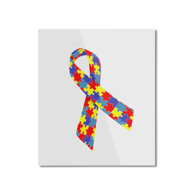 Ribbon Home Mounted Aluminum Print by Coachella Valley Autism Society of America