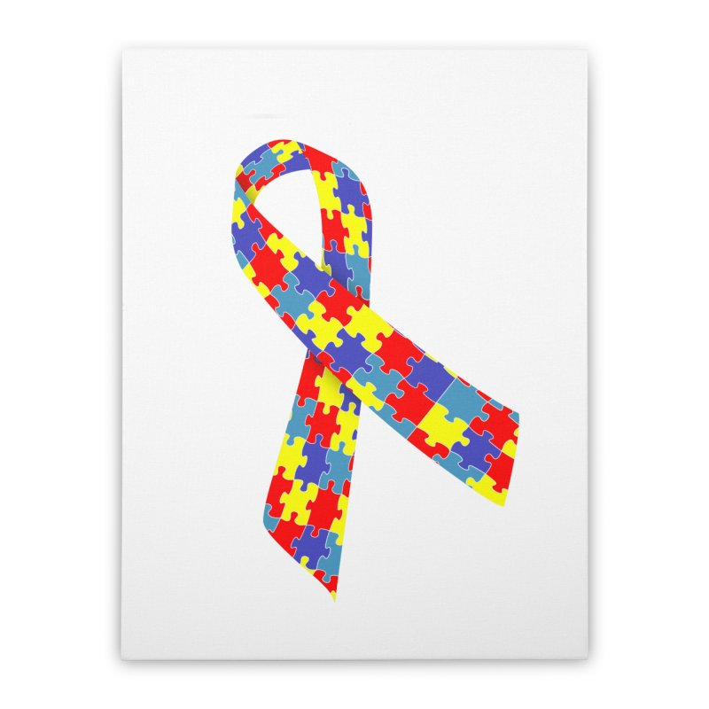 Ribbon Home Stretched Canvas by Coachella Valley Autism Society of America