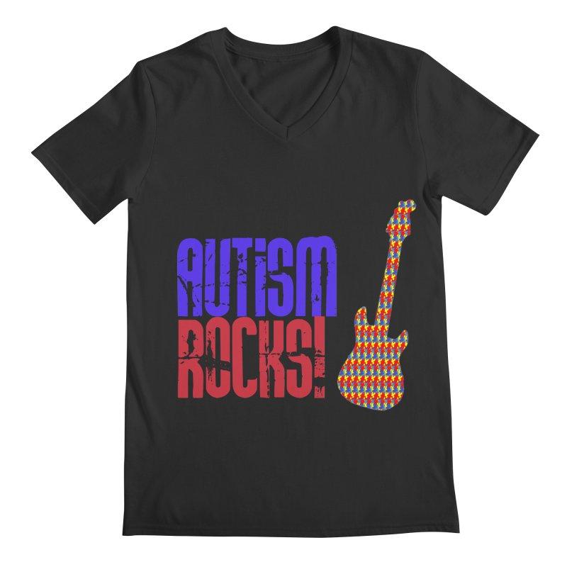 Autism Rocks Men's Regular V-Neck by Coachella Valley Autism Society of America