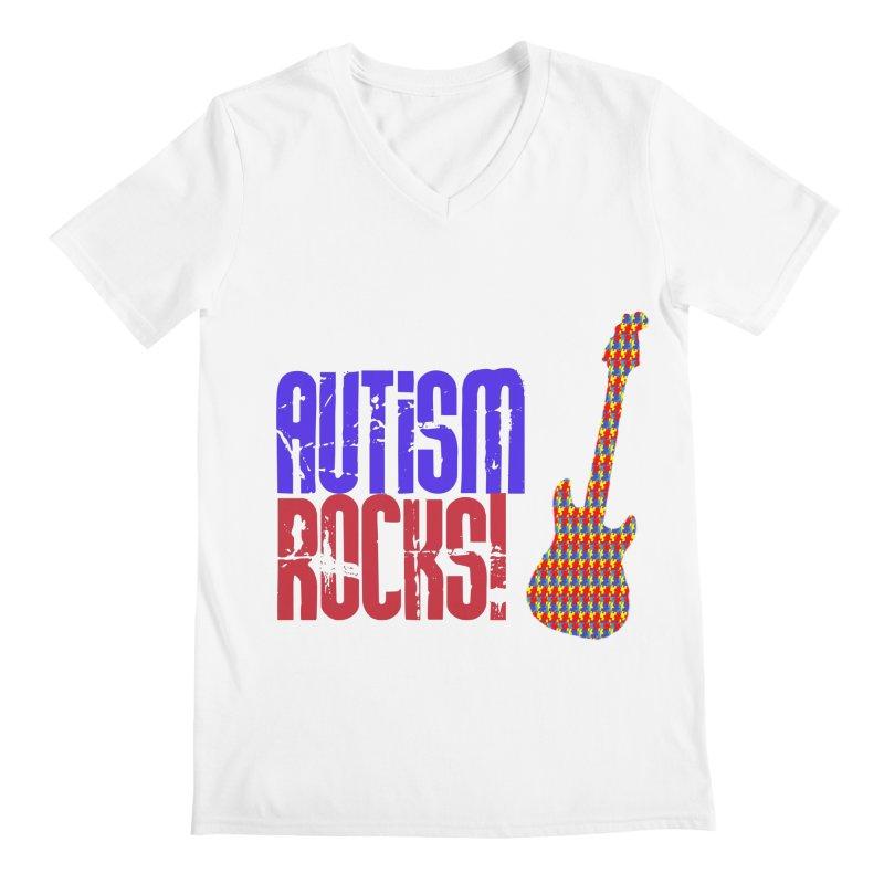 Autism Rocks Men's V-Neck by Coachella Valley Autism Society of America