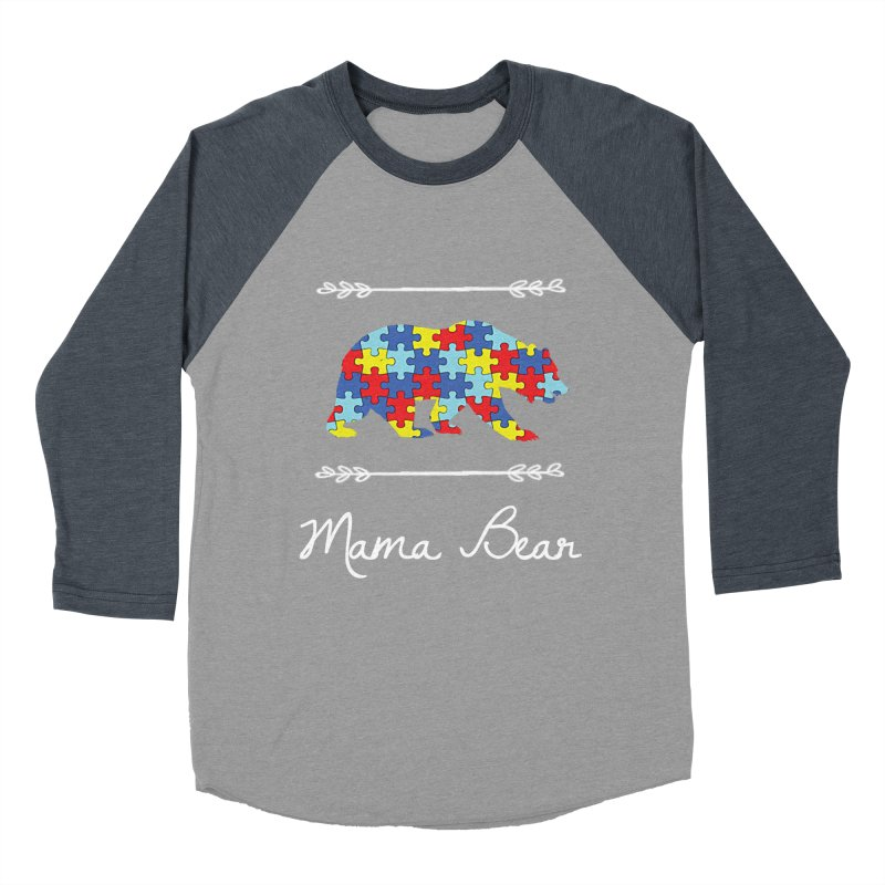 Mama Bear Men's Baseball Triblend Longsleeve T-Shirt by Coachella Valley Autism Society of America