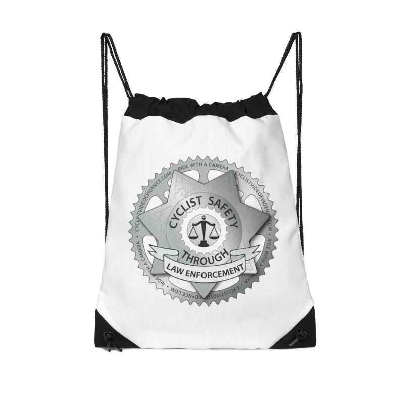 Cyclist Safety Through Law Enforcement Accessories Drawstring Bag Bag by Cyclist Video Evidence's Artist Shop