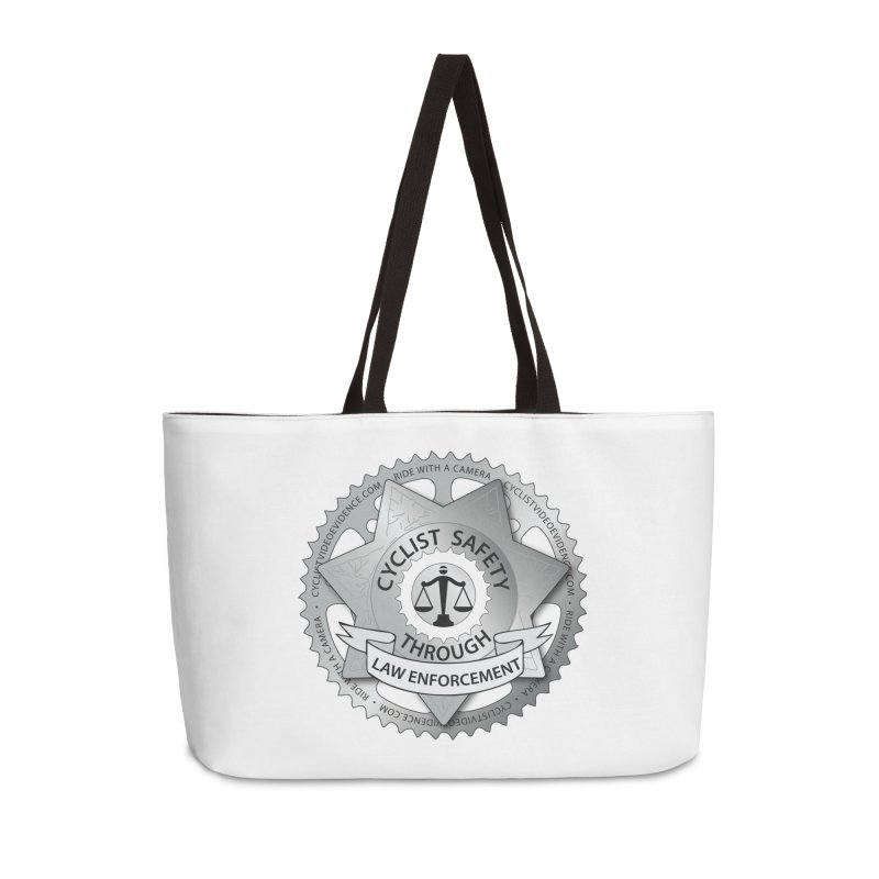 Cyclist Safety Through Law Enforcement Accessories Weekender Bag Bag by Cyclist Video Evidence's Artist Shop