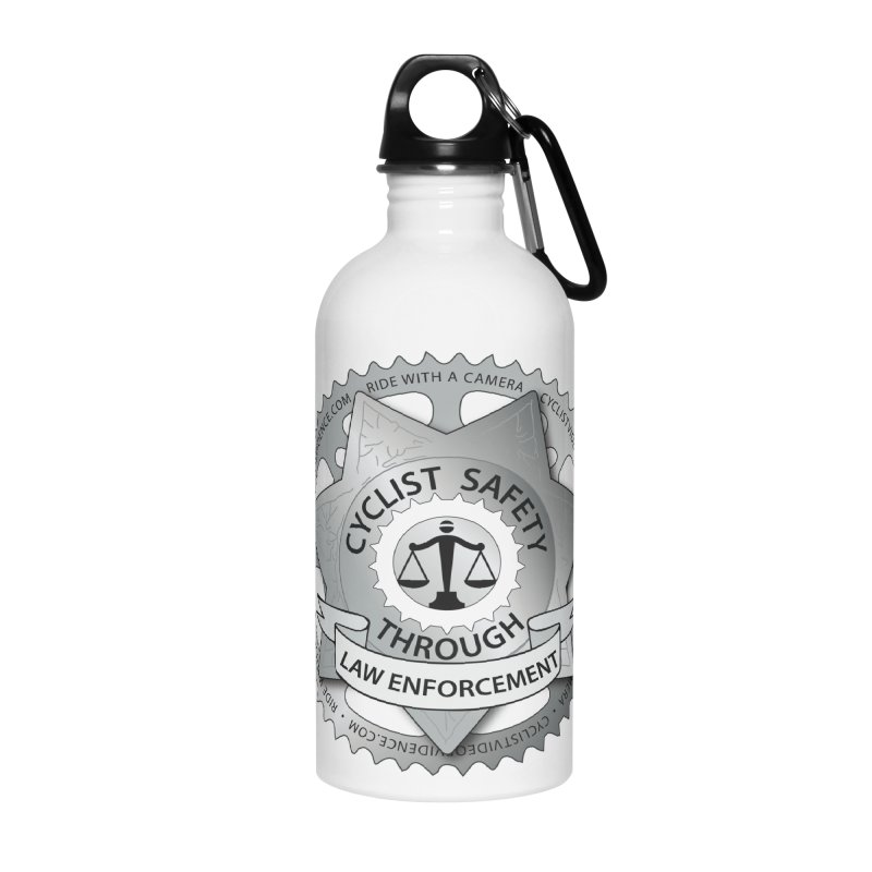 Cyclist Safety Through Law Enforcement Accessories Water Bottle by Cyclist Video Evidence's Artist Shop