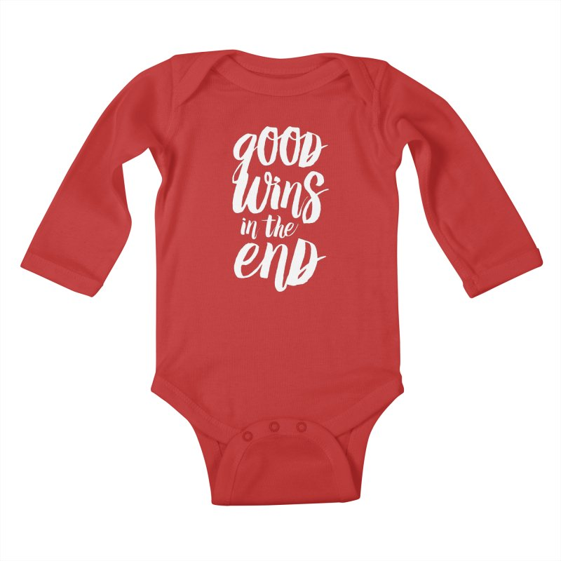 Good Wins In The End Kids Baby Longsleeve Bodysuit by daab Creative's Artist Shop