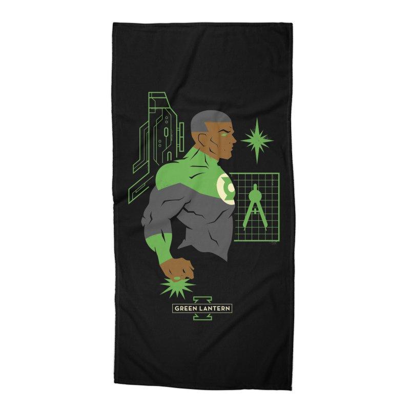 Green Lantern - John Stewart- DC Superhero Profiles Accessories Beach Towel by daab Creative's Artist Shop