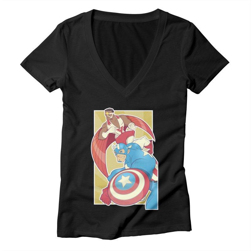 Captain America & Falcon Women's V-Neck by daab Creative's Artist Shop