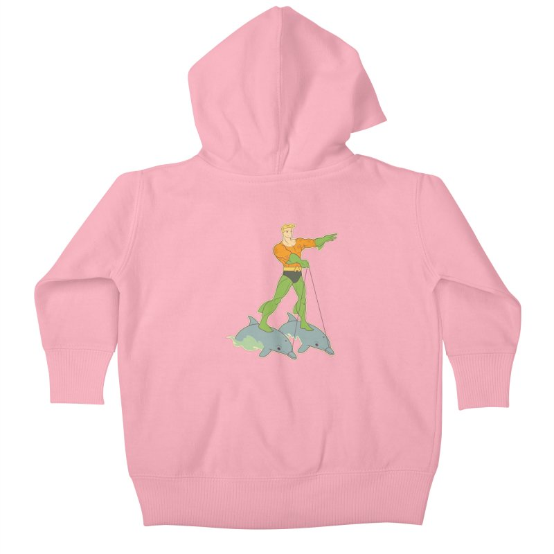 Aquaman Riding Dolphins! Kids Baby Zip-Up Hoody by daab Creative's Artist Shop