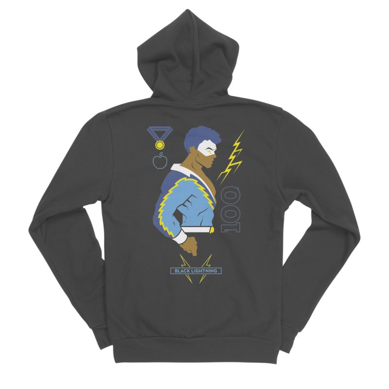 Black Lightning - DC Superhero Profiles Women's Sponge Fleece Zip-Up Hoody by daab Creative's Artist Shop