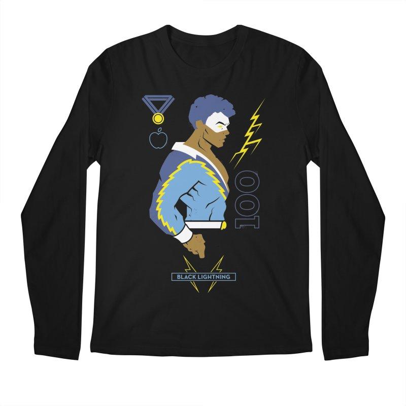 Black Lightning - DC Superhero Profiles Men's Regular Longsleeve T-Shirt by daab Creative's Artist Shop