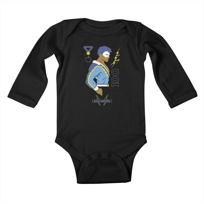 Black Lightning - DC Superhero Profiles Kids Baby Longsleeve Bodysuit by daab Creative's Artist Shop