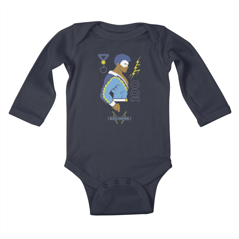 Black Lightning - DC Superhero Profiles Kids Baby Longsleeve Bodysuit by daab Creative's Artist Shop