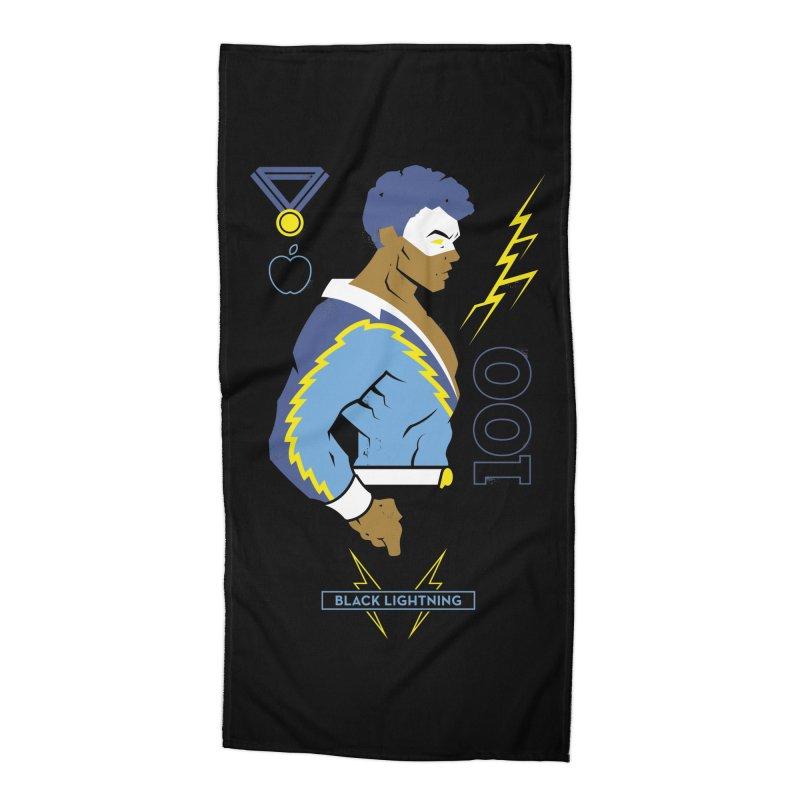 Black Lightning - DC Superhero Profiles Accessories Beach Towel by daab Creative's Artist Shop