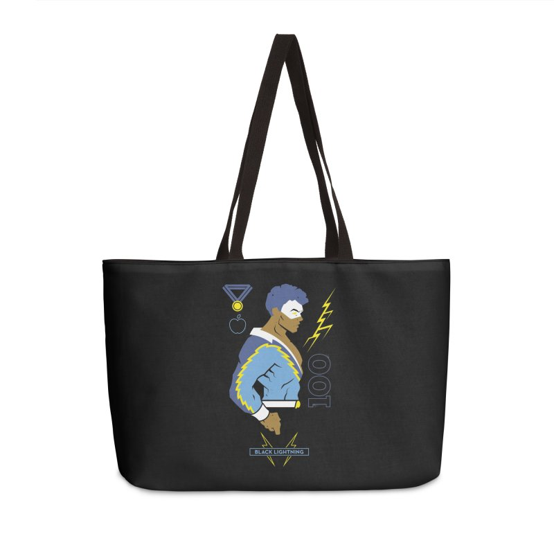 Black Lightning - DC Superhero Profiles Accessories Weekender Bag Bag by daab Creative's Artist Shop