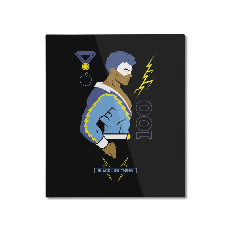 Black Lightning - DC Superhero Profiles Home Mounted Aluminum Print by daab Creative's Artist Shop