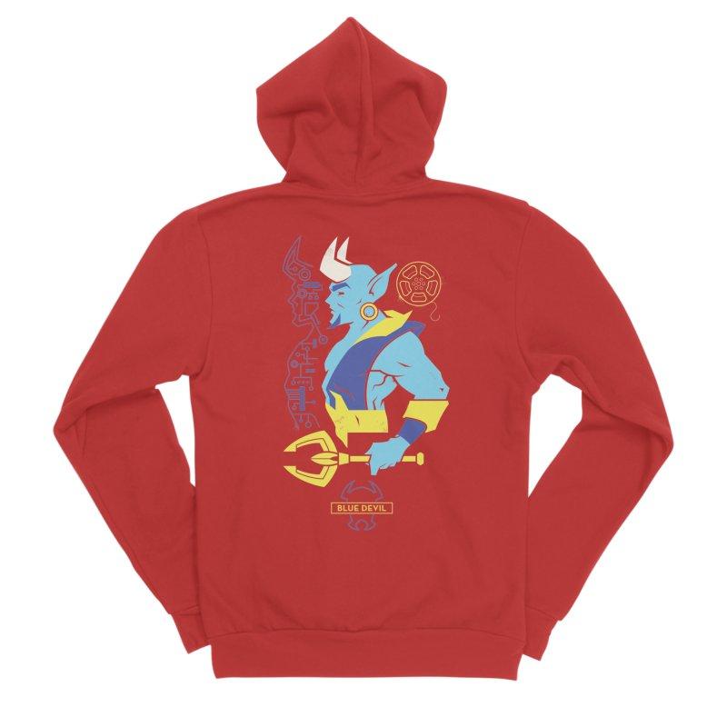 Blue Devil - DC Superhero Profiles Women's Sponge Fleece Zip-Up Hoody by daab Creative's Artist Shop