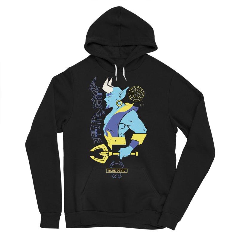 Blue Devil - DC Superhero Profiles Men's Sponge Fleece Pullover Hoody by daab Creative's Artist Shop