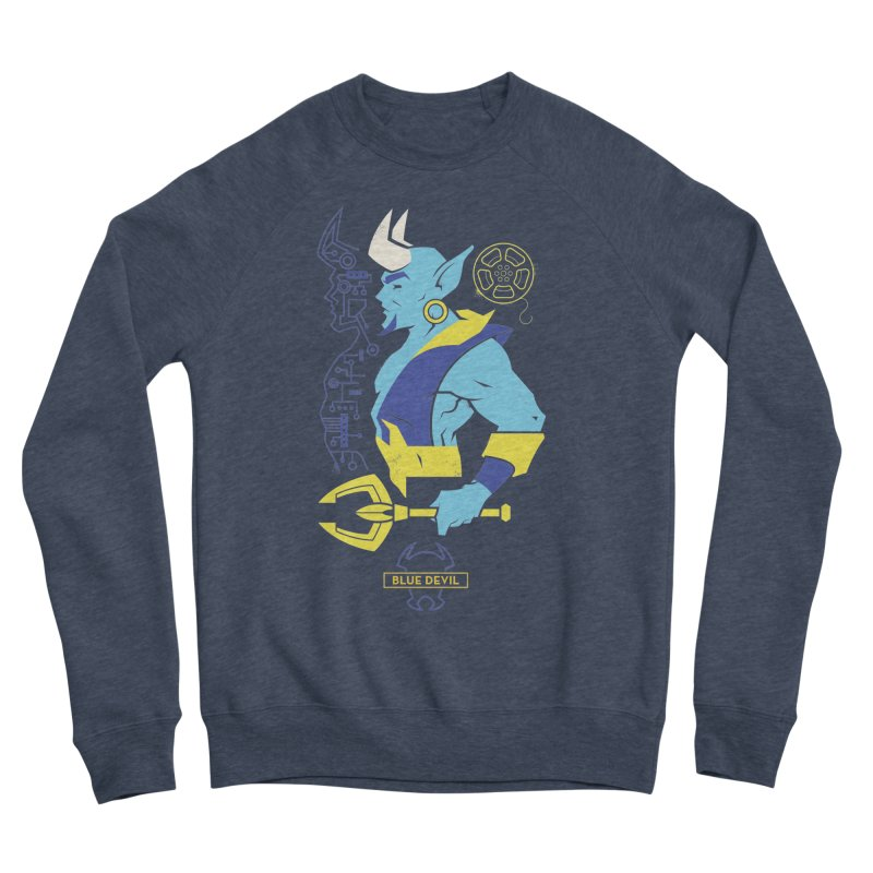Blue Devil - DC Superhero Profiles Women's Sponge Fleece Sweatshirt by daab Creative's Artist Shop