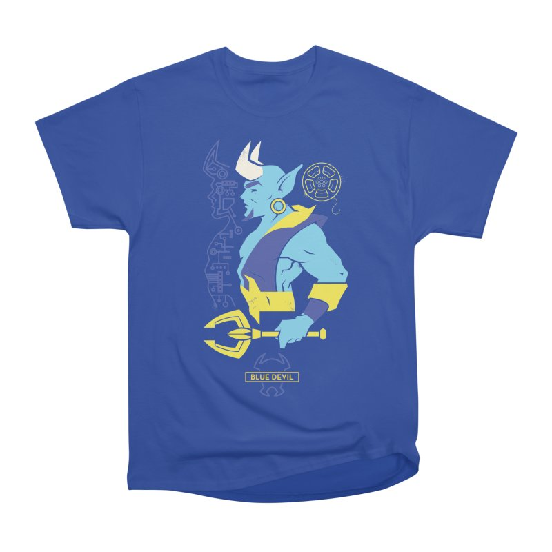 Blue Devil - DC Superhero Profiles Men's Heavyweight T-Shirt by daab Creative's Artist Shop