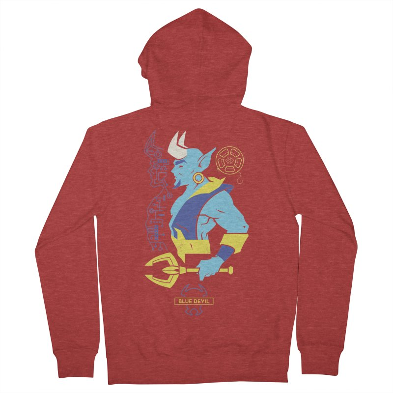 Blue Devil - DC Superhero Profiles Women's French Terry Zip-Up Hoody by daab Creative's Artist Shop