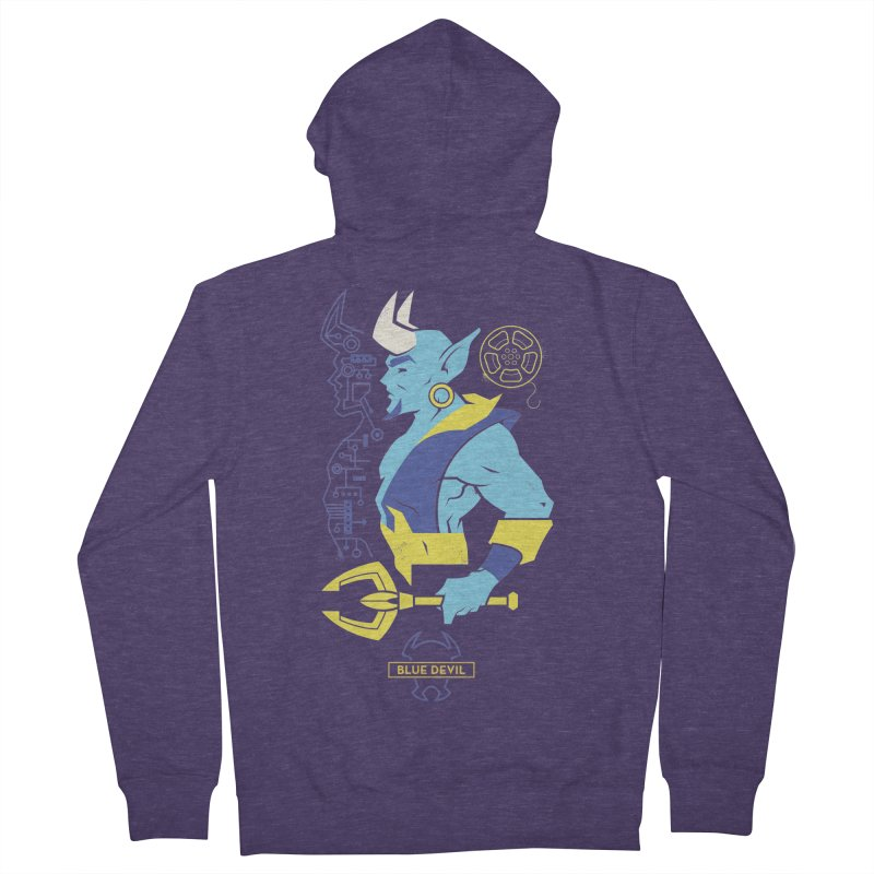 Blue Devil - DC Superhero Profiles Men's French Terry Zip-Up Hoody by daab Creative's Artist Shop