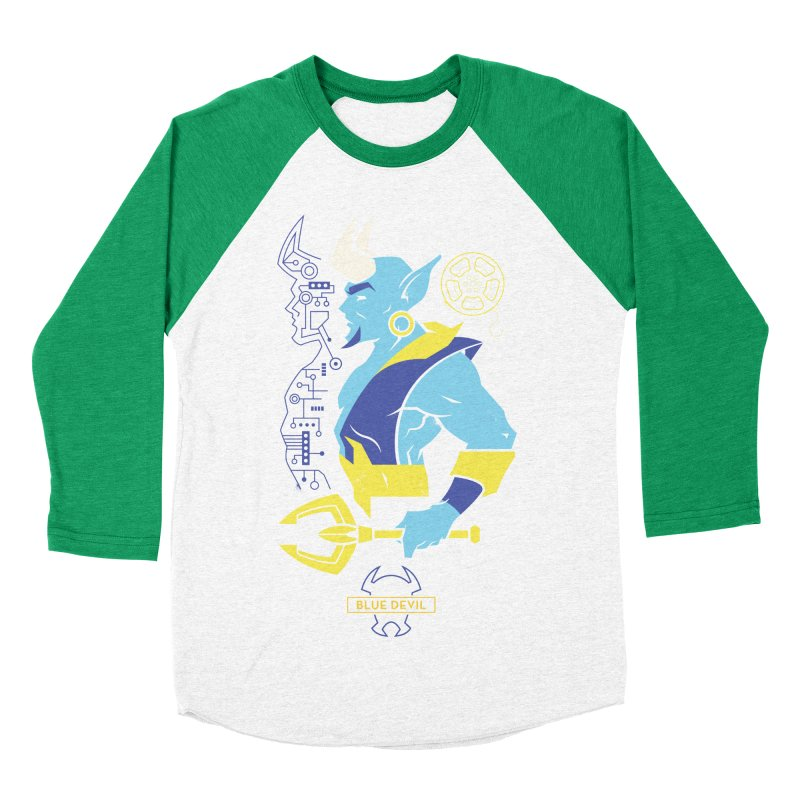 Blue Devil - DC Superhero Profiles Men's Baseball Triblend Longsleeve T-Shirt by daab Creative's Artist Shop