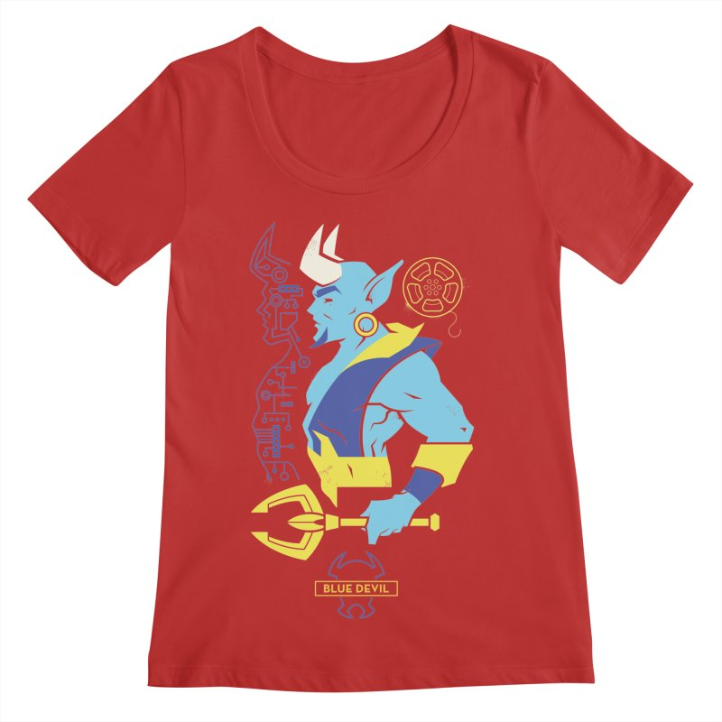 Blue Devil - DC Superhero Profiles Women's Regular Scoop Neck by daab Creative's Artist Shop
