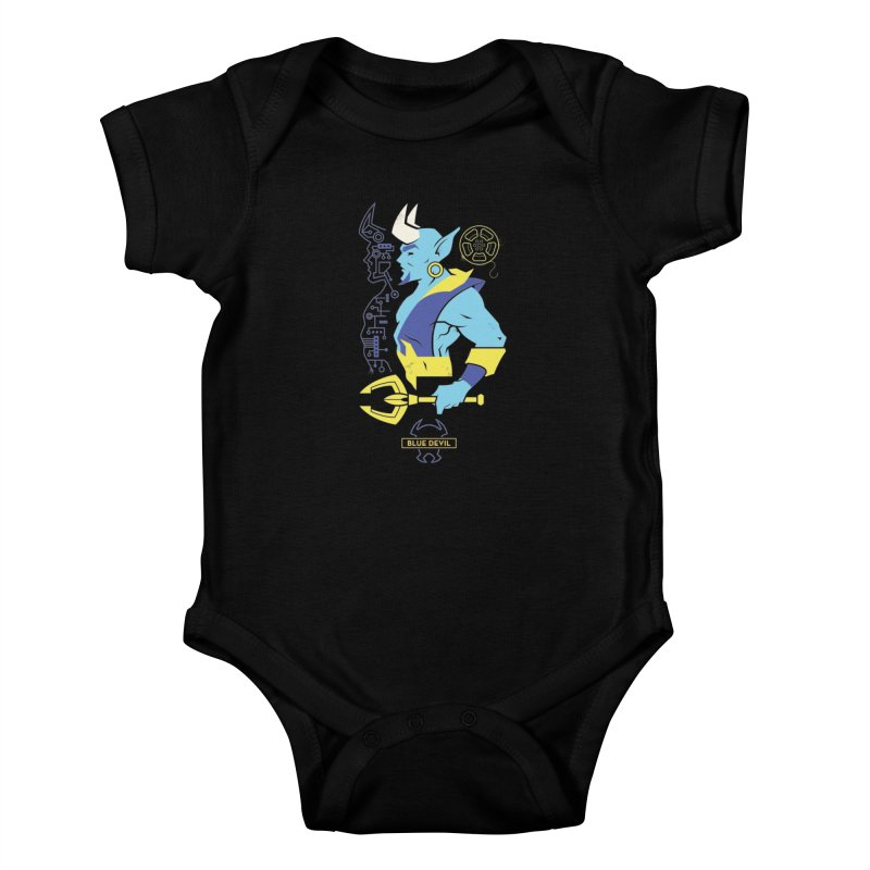 Blue Devil - DC Superhero Profiles Kids Baby Bodysuit by daab Creative's Artist Shop