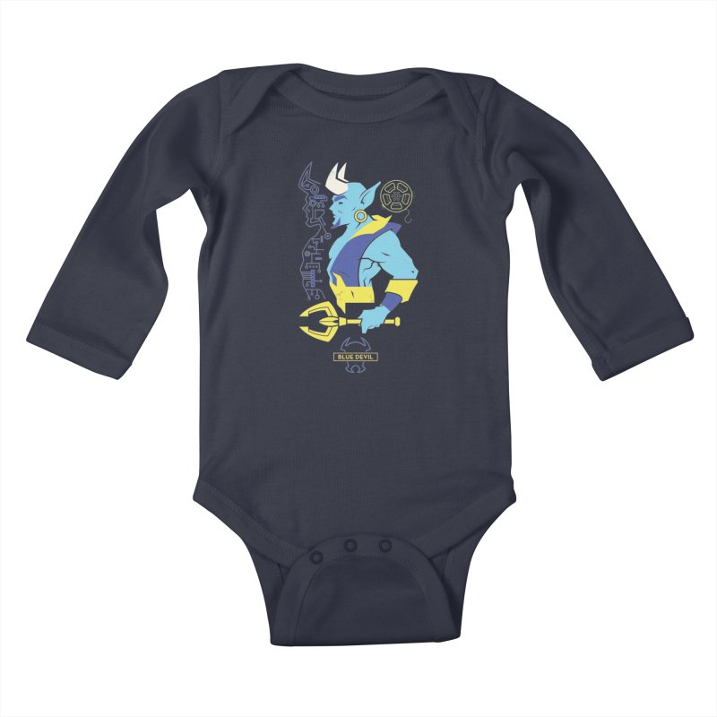 Blue Devil - DC Superhero Profiles Kids Baby Longsleeve Bodysuit by daab Creative's Artist Shop