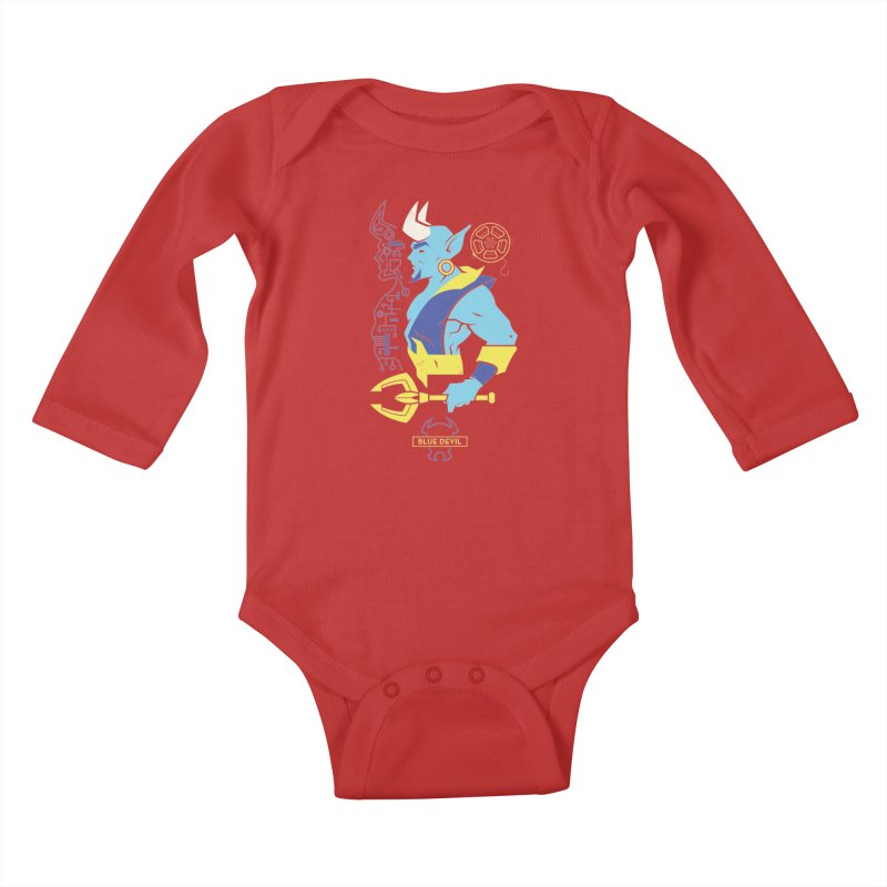 Blue Devil - DC Superhero Profiles Kids Baby Longsleeve Bodysuit by daab Creative's Artist Shop