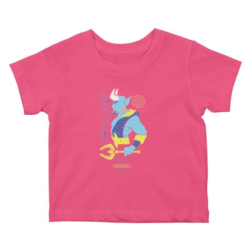 Blue Devil - DC Superhero Profiles Kids Baby T-Shirt by daab Creative's Artist Shop