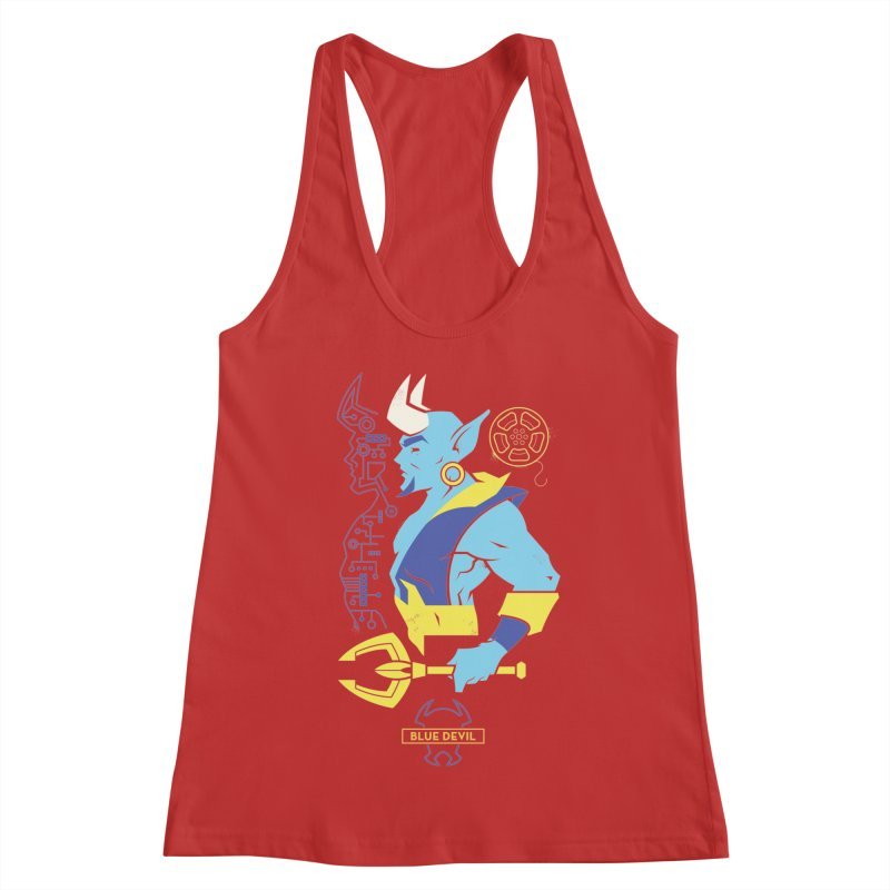 Blue Devil - DC Superhero Profiles Women's Racerback Tank by daab Creative's Artist Shop