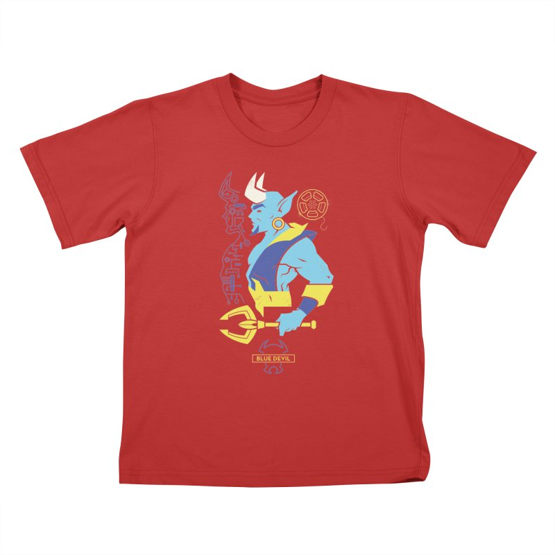 Blue Devil - DC Superhero Profiles Kids T-Shirt by daab Creative's Artist Shop