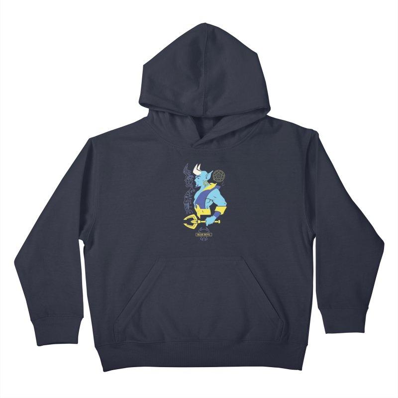 Blue Devil - DC Superhero Profiles Kids Pullover Hoody by daab Creative's Artist Shop
